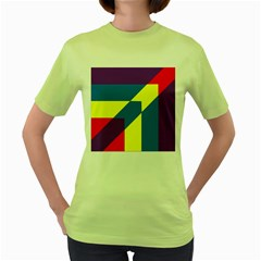 Colorful Red Yellow Blue Purple Women s Green T Shirt