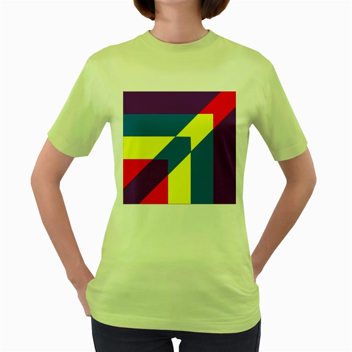 Colorful Red Yellow Blue Purple Women s Green T-Shirt