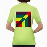 Colorful Red Yellow Blue Purple Women s Green T-Shirt Back