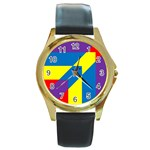 Colorful Red Yellow Blue Purple Round Gold Metal Watch Front