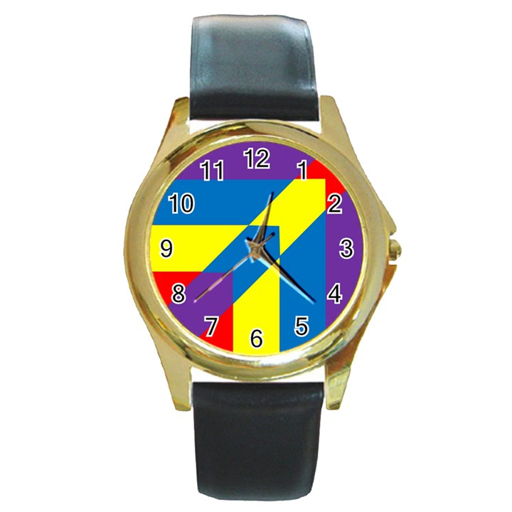 Colorful Red Yellow Blue Purple Round Gold Metal Watch