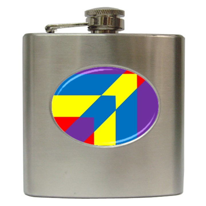 Colorful Red Yellow Blue Purple Hip Flask (6 oz)