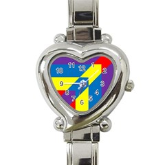 Colorful Red Yellow Blue Purple Heart Italian Charm Watch