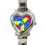 Colorful Red Yellow Blue Purple Heart Italian Charm Watch Front
