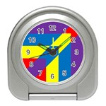 Colorful Red Yellow Blue Purple Travel Alarm Clock Front