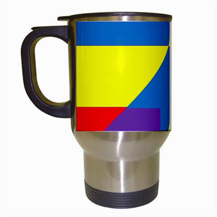Colorful Red Yellow Blue Purple Travel Mugs (White)