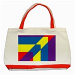 Colorful Red Yellow Blue Purple Classic Tote Bag (Red) Front