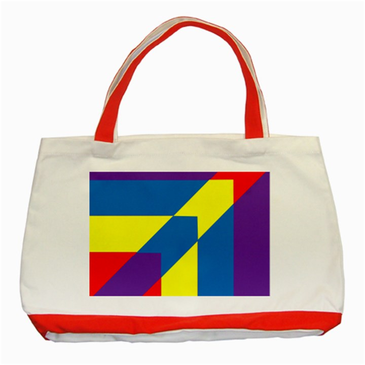Colorful Red Yellow Blue Purple Classic Tote Bag (Red)