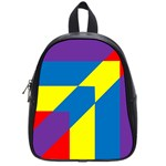 Colorful Red Yellow Blue Purple School Bag (Small) Front