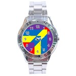 Colorful Red Yellow Blue Purple Stainless Steel Analogue Watch Front