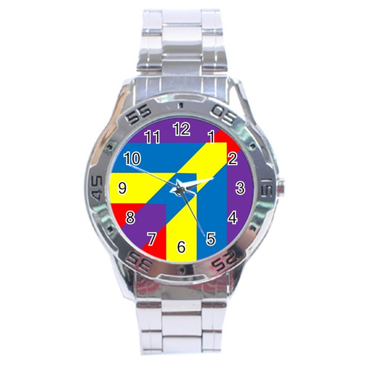 Colorful Red Yellow Blue Purple Stainless Steel Analogue Watch