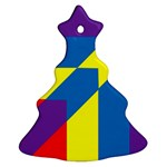 Colorful Red Yellow Blue Purple Christmas Tree Ornament (Two Sides) Front