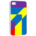 Colorful Red Yellow Blue Purple iPhone 4/4s Seamless Case (White) Front