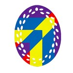 Colorful Red Yellow Blue Purple Ornament (Oval Filigree) Front