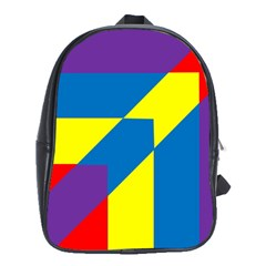 Colorful Red Yellow Blue Purple School Bag (xl) by Sapixe