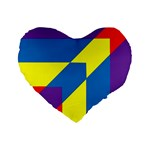 Colorful Red Yellow Blue Purple Standard 16  Premium Heart Shape Cushions Front