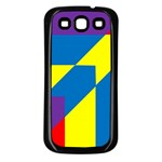 Colorful Red Yellow Blue Purple Samsung Galaxy S3 Back Case (Black) Front