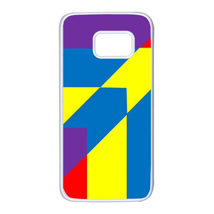 Colorful Red Yellow Blue Purple Samsung Galaxy S7 White Seamless Case