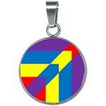 Colorful Red Yellow Blue Purple 20mm Round Necklace Front