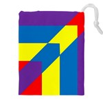 Colorful Red Yellow Blue Purple Drawstring Pouch (XXXL) Front