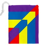Colorful Red Yellow Blue Purple Drawstring Pouch (XXXL) Back