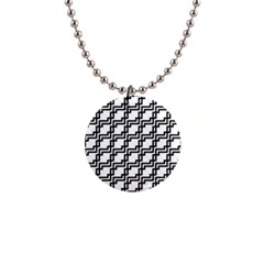 Pattern Monochrome Repeat 1  Button Necklace