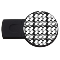 Pattern Monochrome Repeat Usb Flash Drive Round (4 Gb) by Sapixe