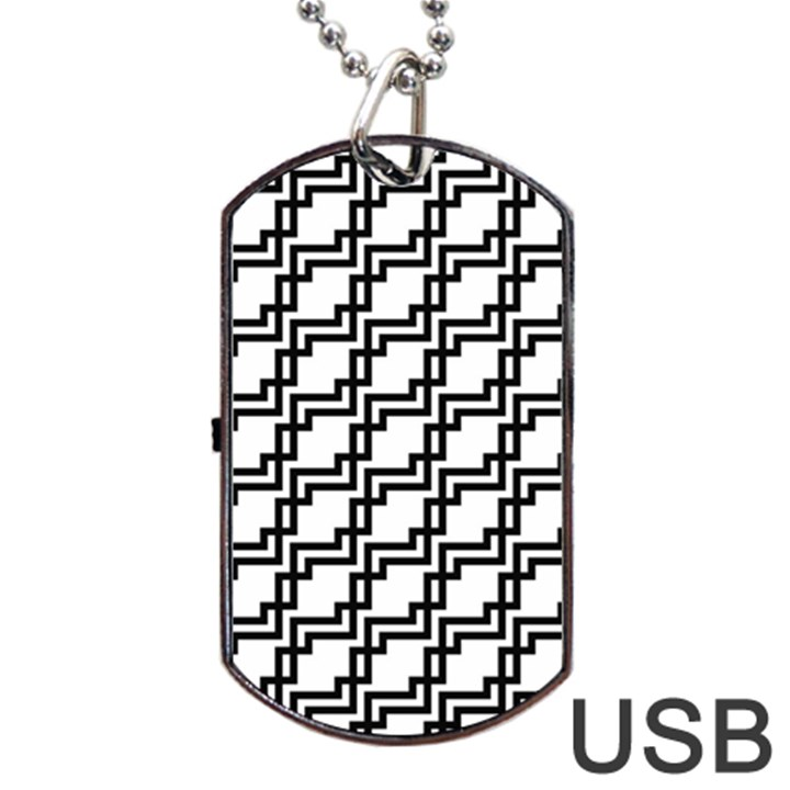 Pattern Monochrome Repeat Dog Tag USB Flash (One Side)