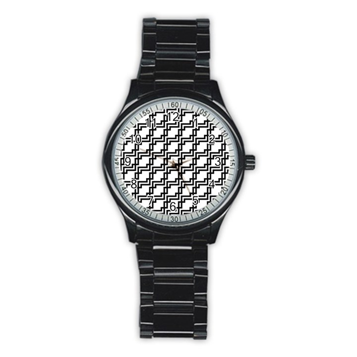 Pattern Monochrome Repeat Stainless Steel Round Watch