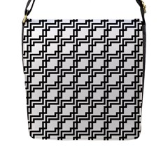 Pattern Monochrome Repeat Flap Closure Messenger Bag (l) by Sapixe