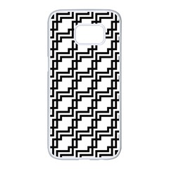 Pattern Monochrome Repeat Samsung Galaxy S7 Edge White Seamless Case by Sapixe