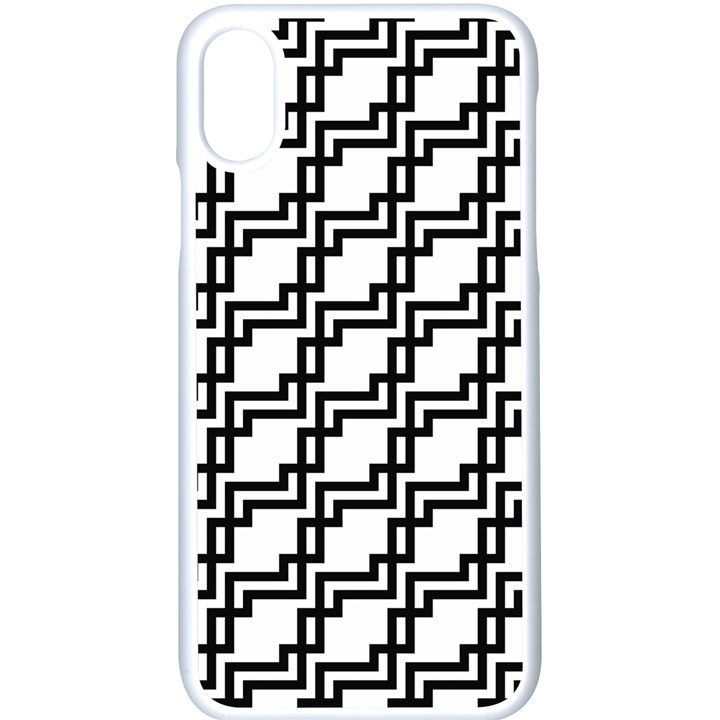 Pattern Monochrome Repeat iPhone X Seamless Case (White)