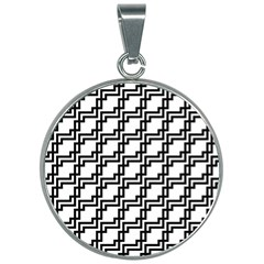 Pattern Monochrome Repeat 30mm Round Necklace by Sapixe
