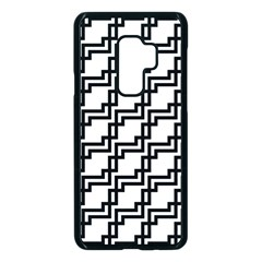 Pattern Monochrome Repeat Samsung Galaxy S9 Plus Seamless Case(black) by Sapixe