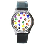 Pawprints Paw Prints Paw Animal Round Metal Watch Front