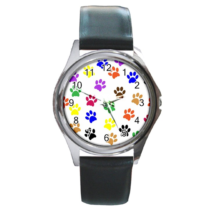 Pawprints Paw Prints Paw Animal Round Metal Watch