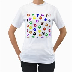 Pawprints Paw Prints Paw Animal Women s T Shirt (white) (two Sided)