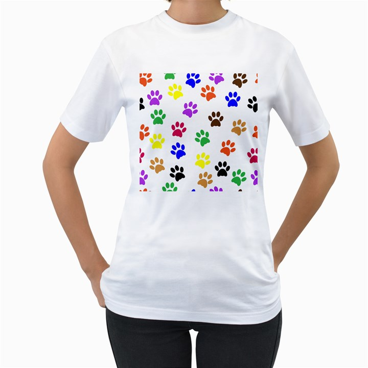 Pawprints Paw Prints Paw Animal Women s T-Shirt (White) (Two Sided)