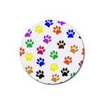 Pawprints Paw Prints Paw Animal Rubber Round Coaster (4 pack)  Front