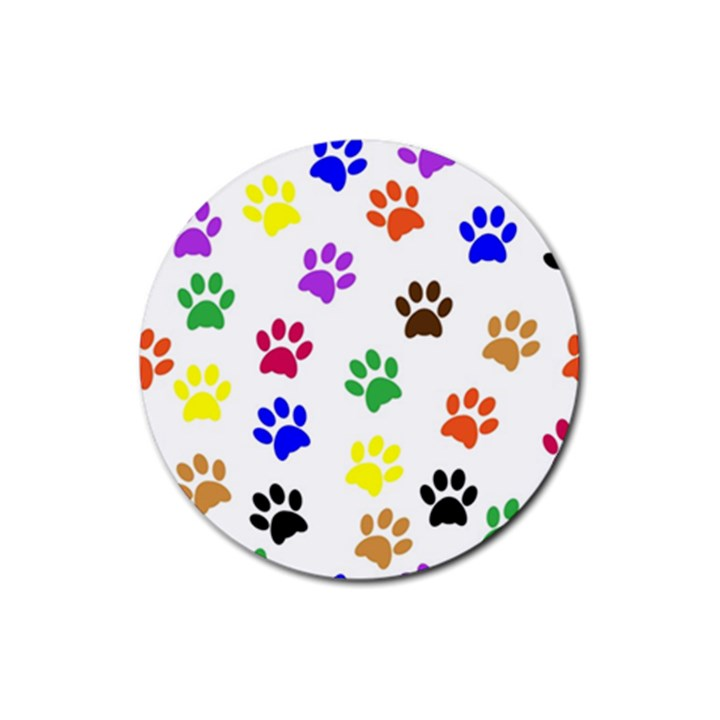 Pawprints Paw Prints Paw Animal Rubber Round Coaster (4 pack)