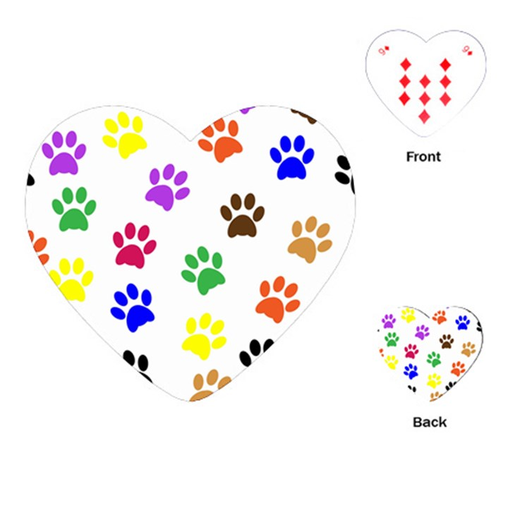 Pawprints Paw Prints Paw Animal Playing Cards (Heart)