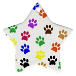 Pawprints Paw Prints Paw Animal Star Ornament (Two Sides) Back