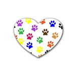 Pawprints Paw Prints Paw Animal Rubber Coaster (Heart)  Front