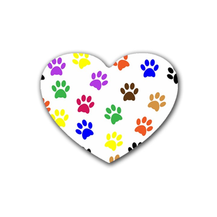 Pawprints Paw Prints Paw Animal Rubber Coaster (Heart)