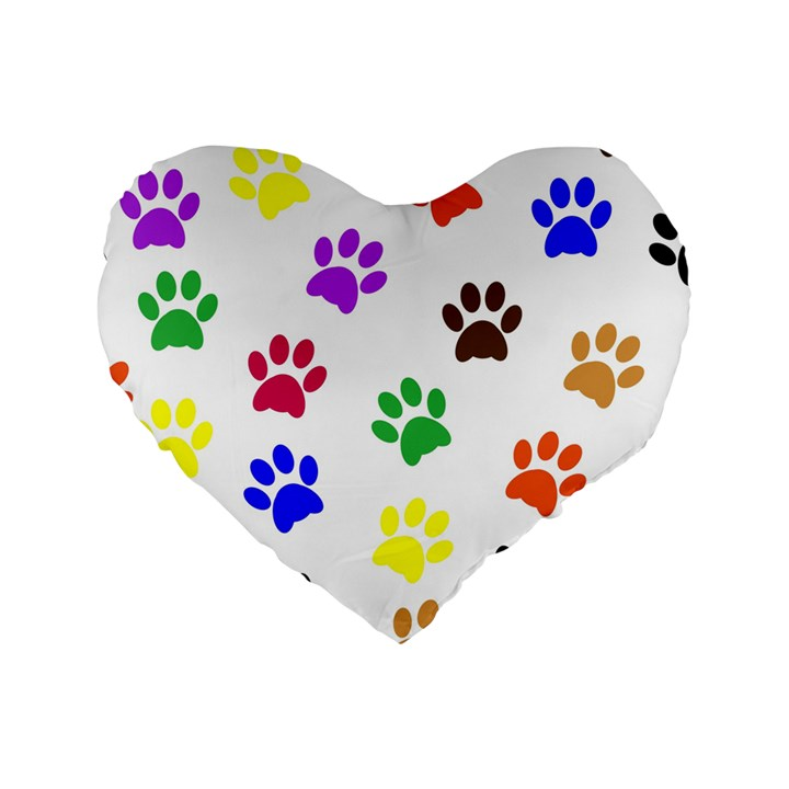 Pawprints Paw Prints Paw Animal Standard 16  Premium Heart Shape Cushions