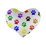 Pawprints Paw Prints Paw Animal Standard 16  Premium Heart Shape Cushions Back