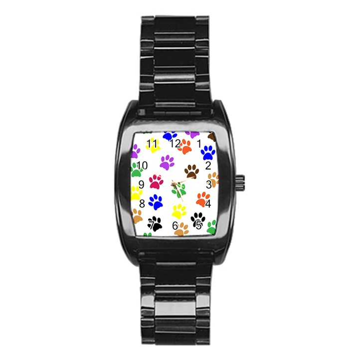Pawprints Paw Prints Paw Animal Stainless Steel Barrel Watch