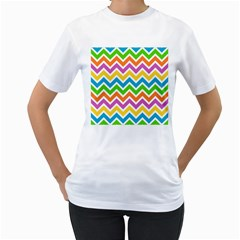 Chevron Pattern Design Texture Women s T Shirt (white) (two Sided)