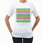 Chevron Pattern Design Texture Women s T-Shirt (White) (Two Sided) Front
