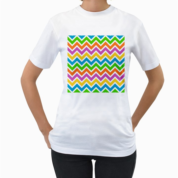 Chevron Pattern Design Texture Women s T-Shirt (White) (Two Sided)